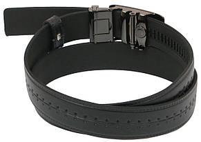 Мужской кожаный ремень под брюки Skipper 1090-35 черный ДхШ: 128х3,5 см., фото 3