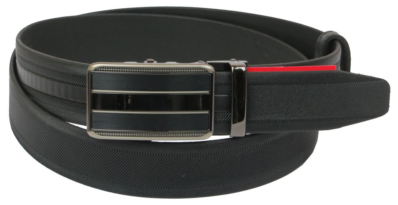 Мужской кожаный ремень под брюки Skipper 1084-35 черный ДхШ: 131х3,5 см.