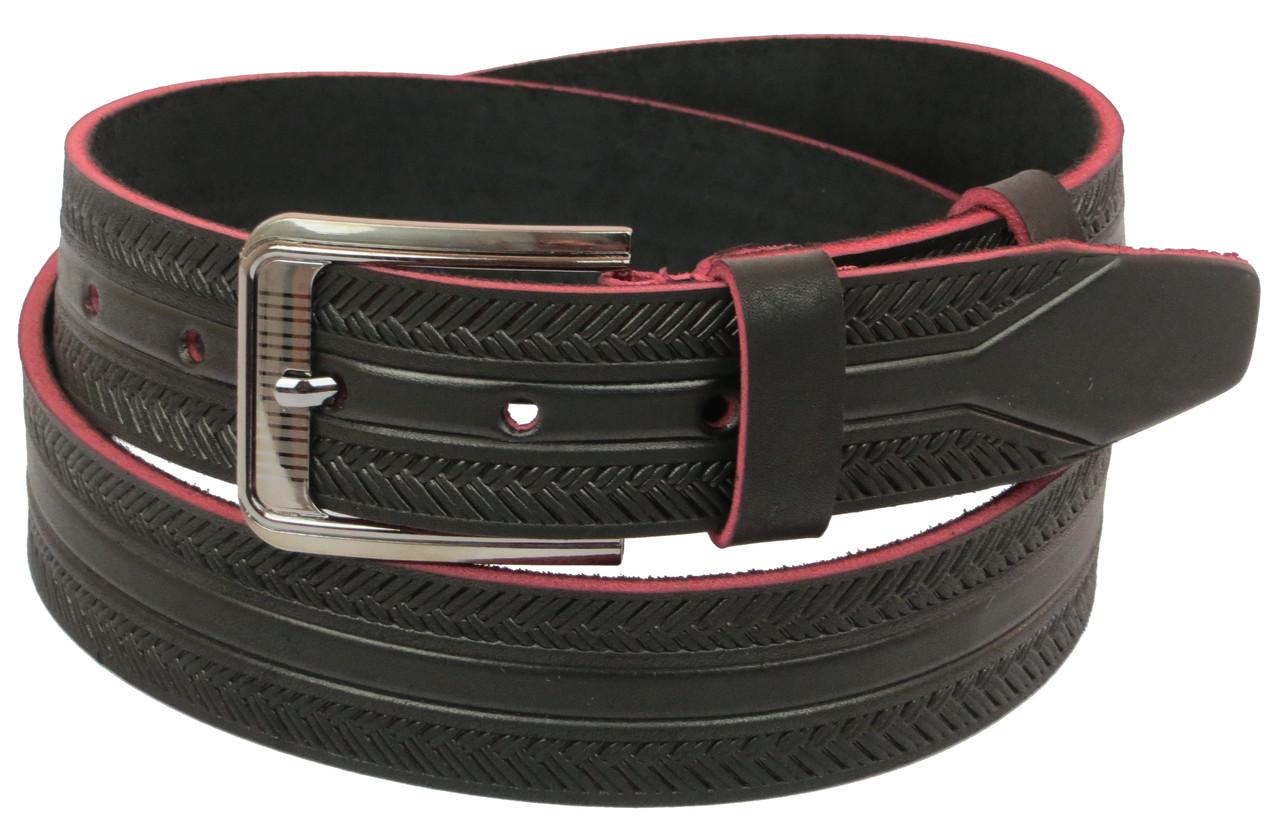 Мужской кожаный ремень под джинсы Skipper 1127-38 коричневый ДхШ: 128х3,8 см.