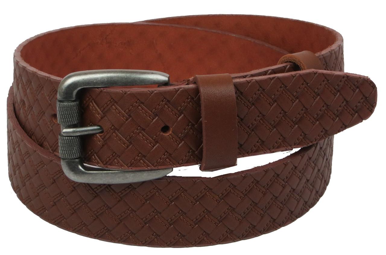 Мужской кожаный ремень под джинсы Skipper 1131-40 коричневый