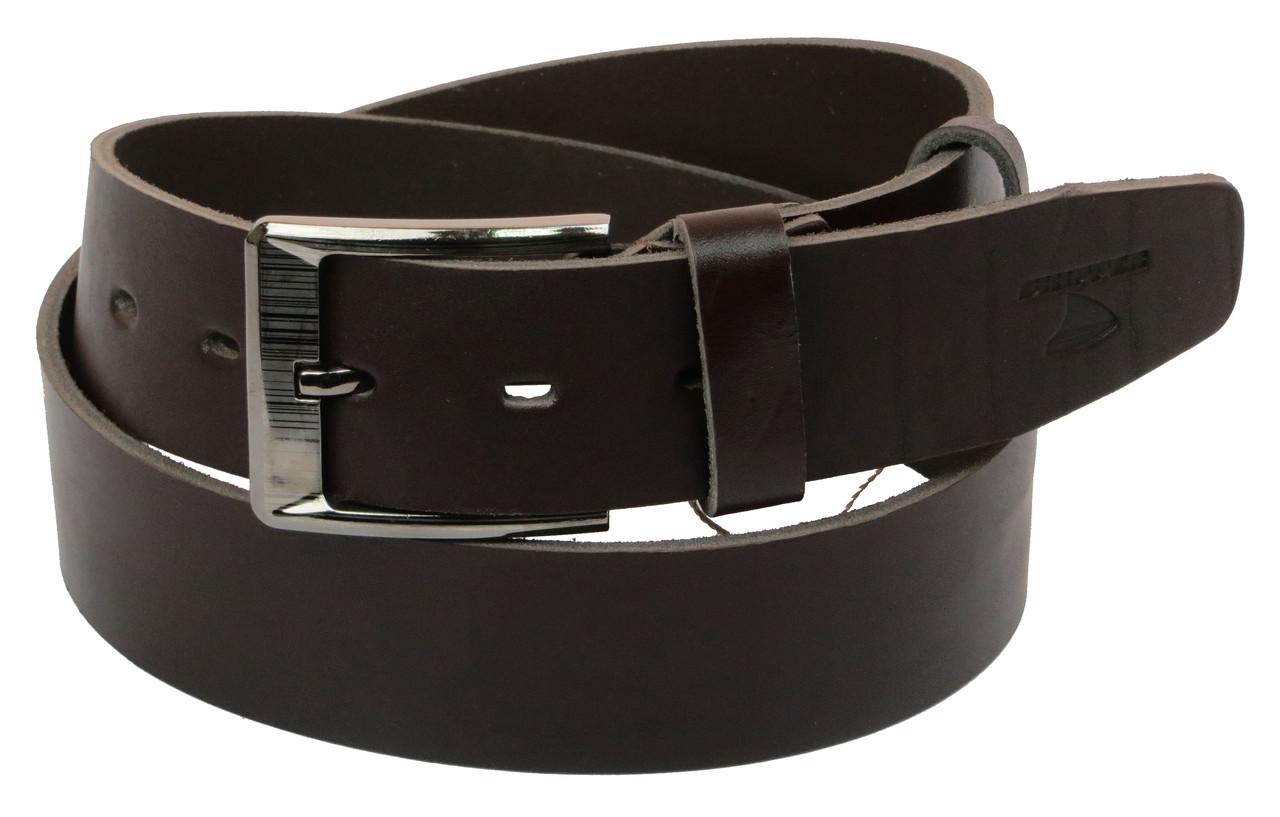 Мужской кожаный ремень под джинсы Skipper 1155-45 темно-коричневый ДхШ: 124х4,5 см.