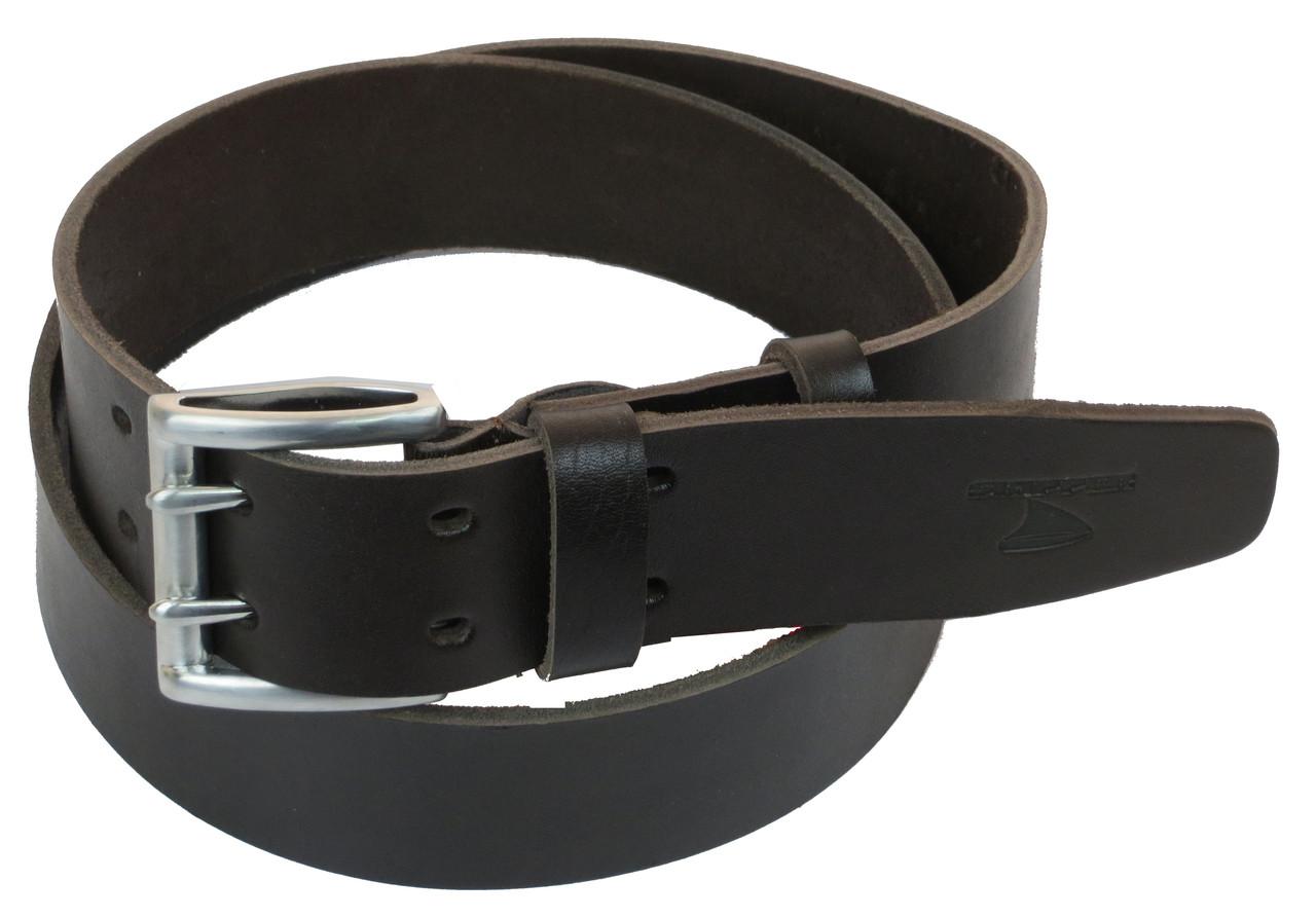 Мужской кожаный ремень под джинсы Skipper 1182-45 темно-коричневый 4,5 см