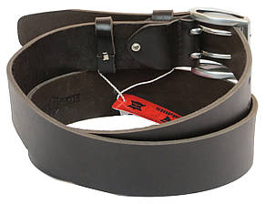 Мужской кожаный ремень под джинсы Skipper 1182-45 темно-коричневый 4,5 см, фото 2