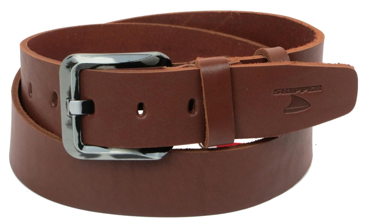 Мужской кожаный ремень под джинсы Skipper 1177-45 коричневый ДхШ: 131х4,5 см.