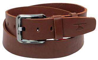 Мужской кожаный ремень под джинсы Skipper 1177-45 коричневый ДхШ: 131х4,5 см., фото 2