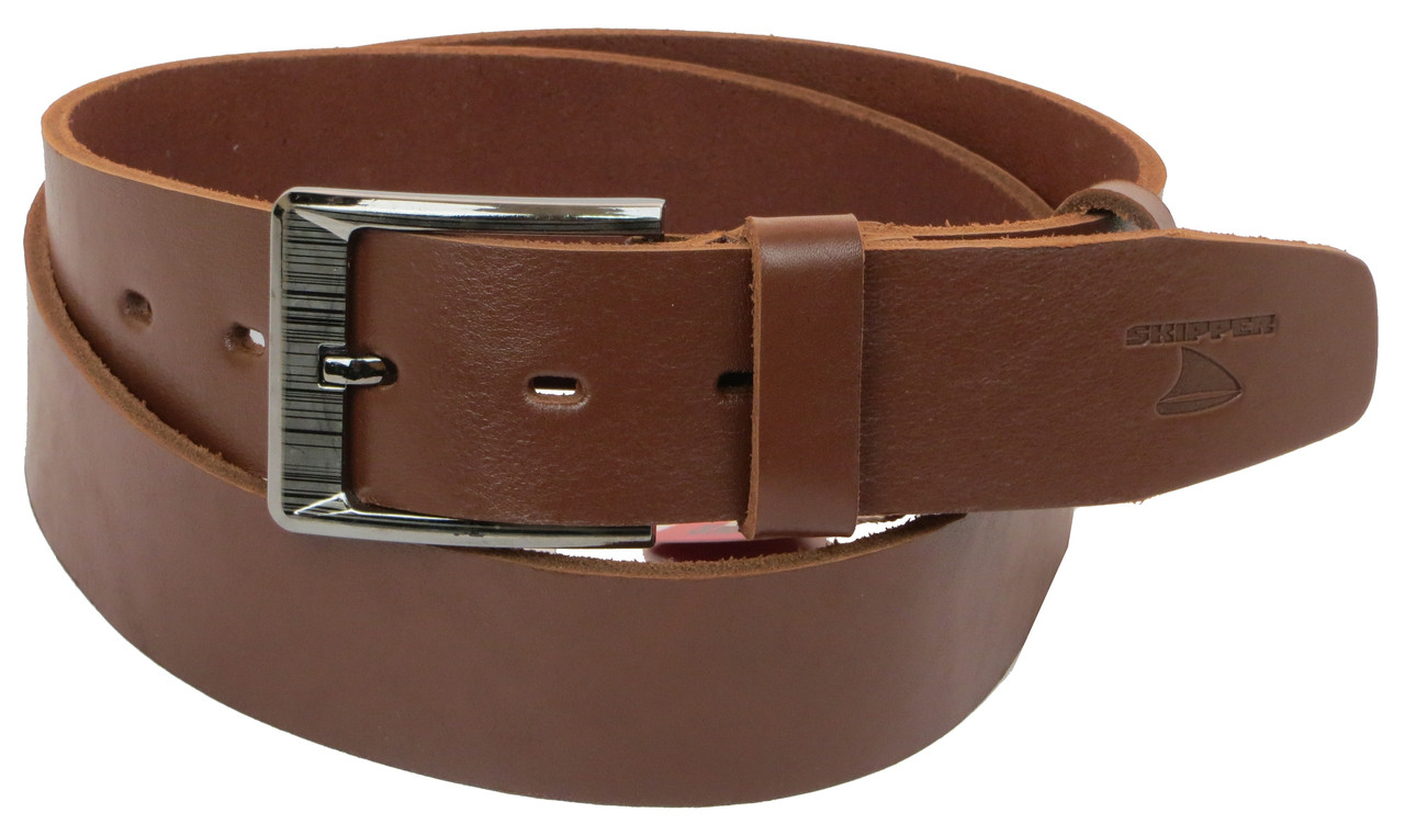 Мужской кожаный ремень под джинсы Skipper 1183-45 коричневый ДхШ: 135х4,5 см.