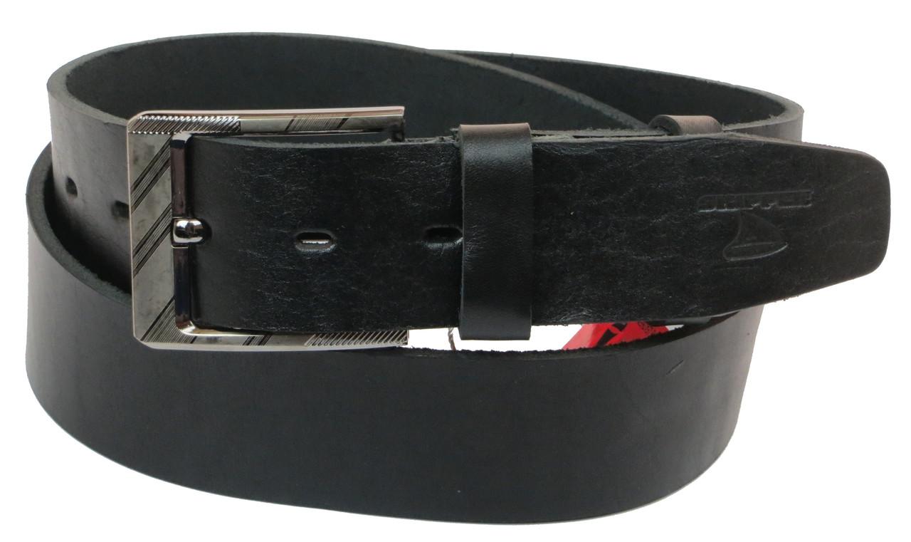 Мужской кожаный ремень под джинсы Skipper 1160-45 черный ДхШ: 134х4,5 см.