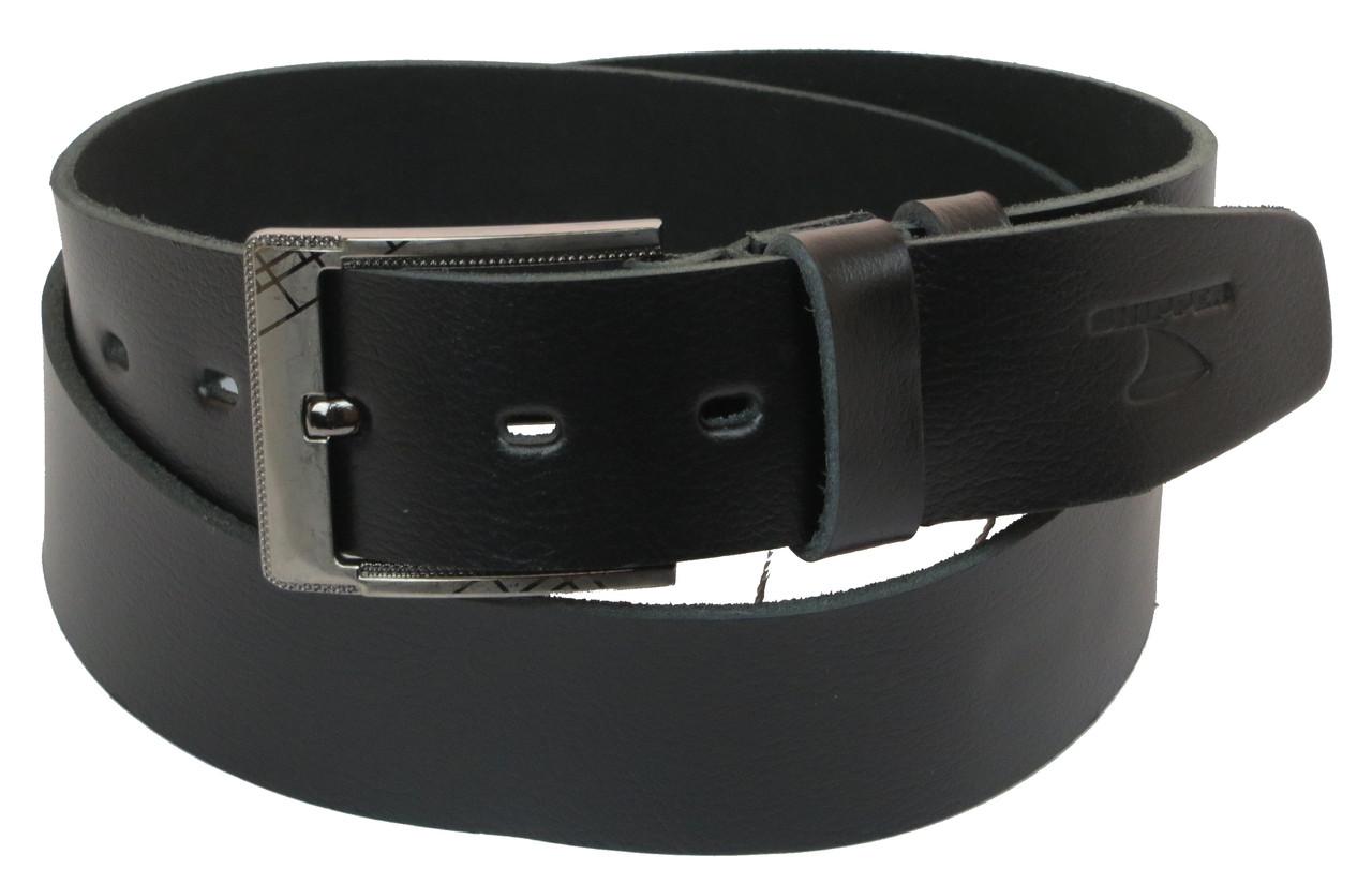 Мужской кожаный ремень под джинсы Skipper 1159-45 черный ДхШ: 131х4,5 см.