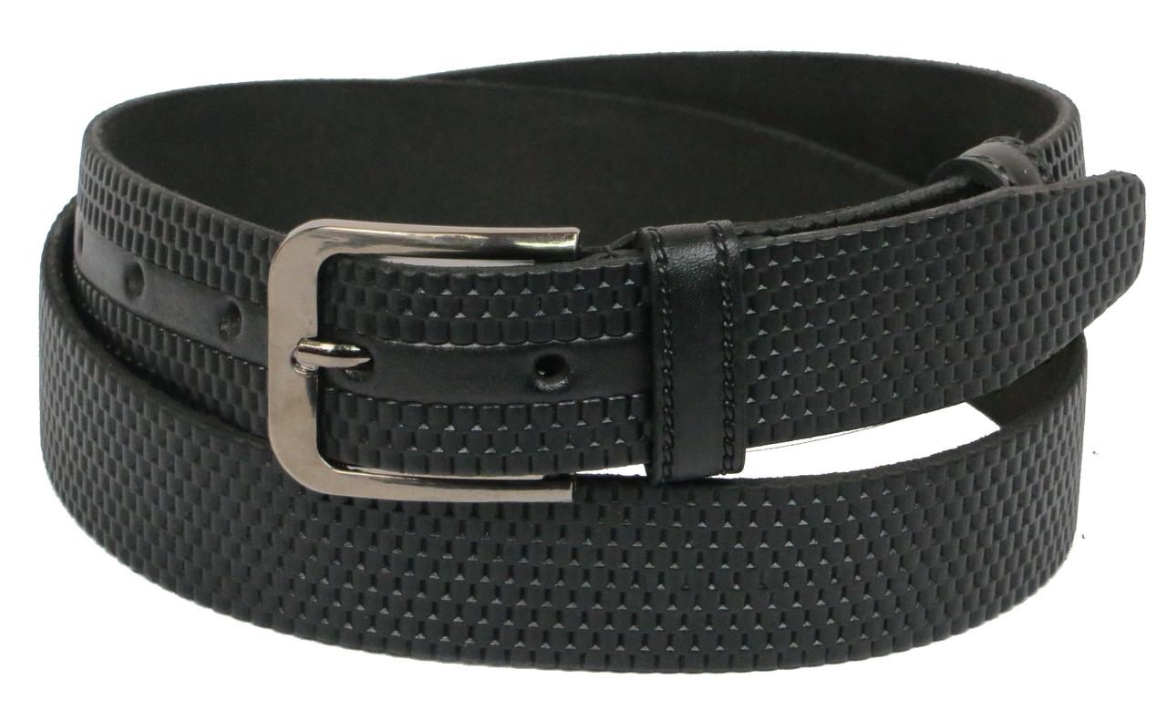 Мужской кожаный ремень под брюки Skipper 1051-35 черный ДхШ: 123х3,5 см.