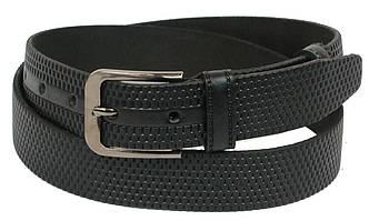 Мужской кожаный ремень под брюки Skipper 1051-35 черный ДхШ: 123х3,5 см., фото 2