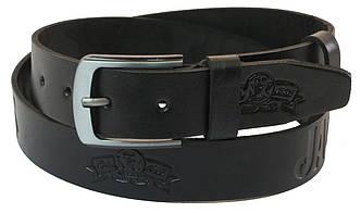 Мужской кожаный ремень под джинсы Skipper 1062-38 черный ДхШ: 127х3,8 см., фото 2