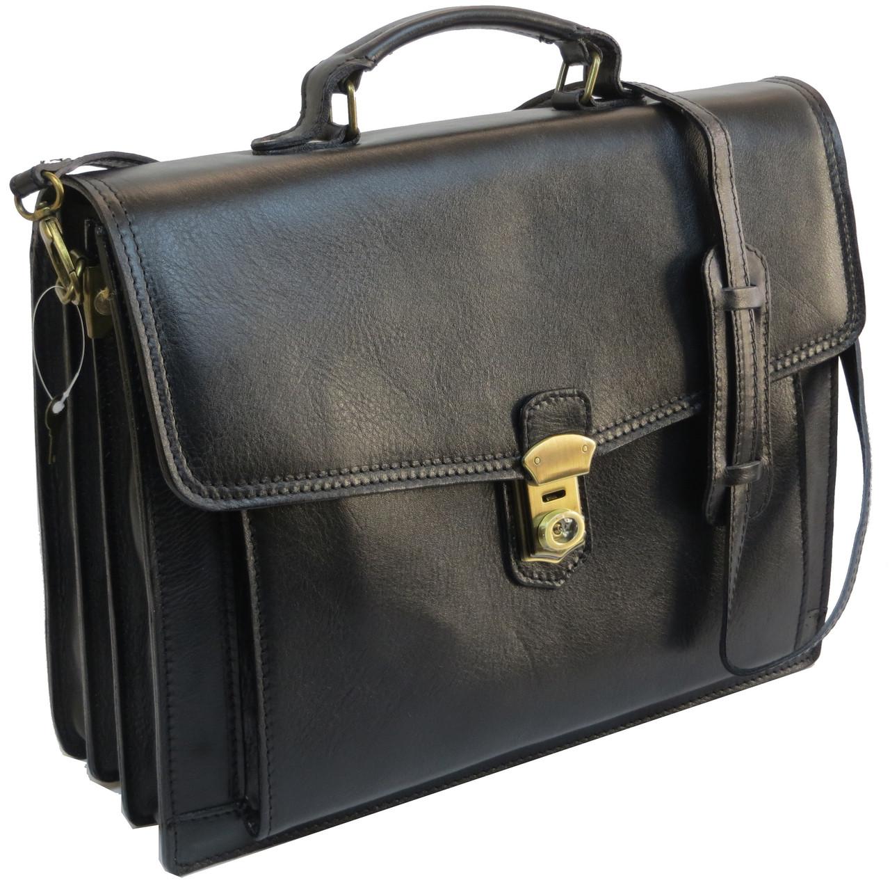 Большой кожаный деловой портфель Tomskor, Польша черный