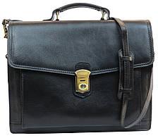 Большой кожаный деловой портфель Tomskor, Польша черный, фото 3