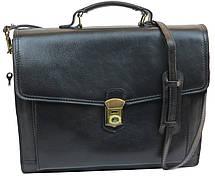 Большой кожаный деловой портфель Tomskor, Польша черный, фото 2