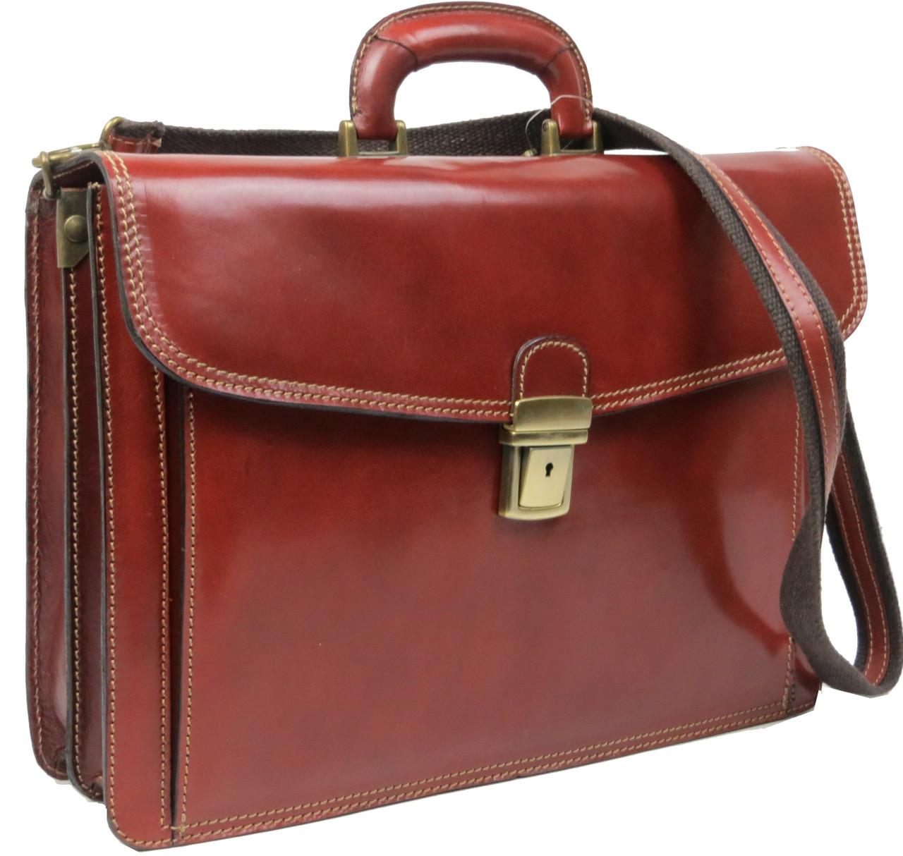 Мужской кожаный деловой портфель Tomskor