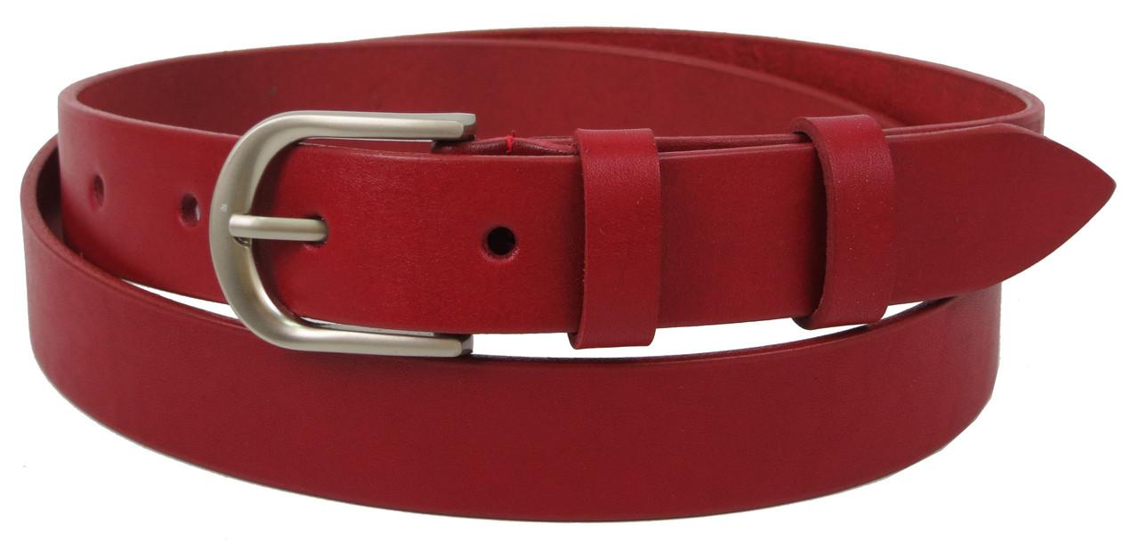 Кожаный женский ремень Skipper, Украина, красный 3 см
