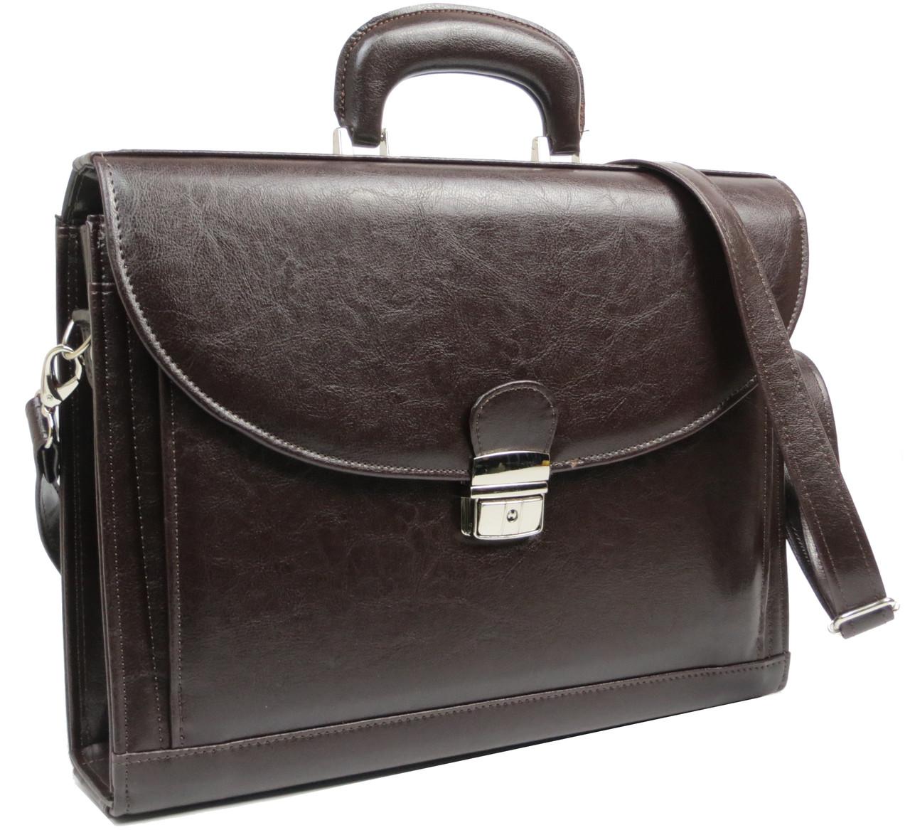Деловой портфель из эко кожи JPB TE-33 коричневый
