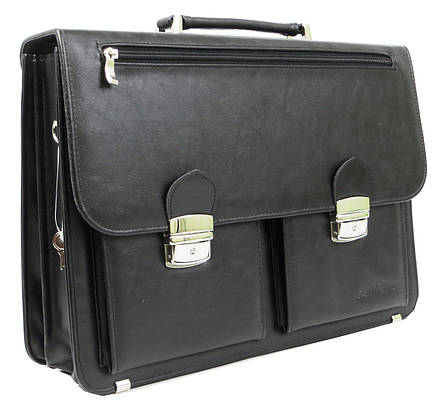 Портфель мужской из эко кожи Salvare N01A1 черный, фото 2