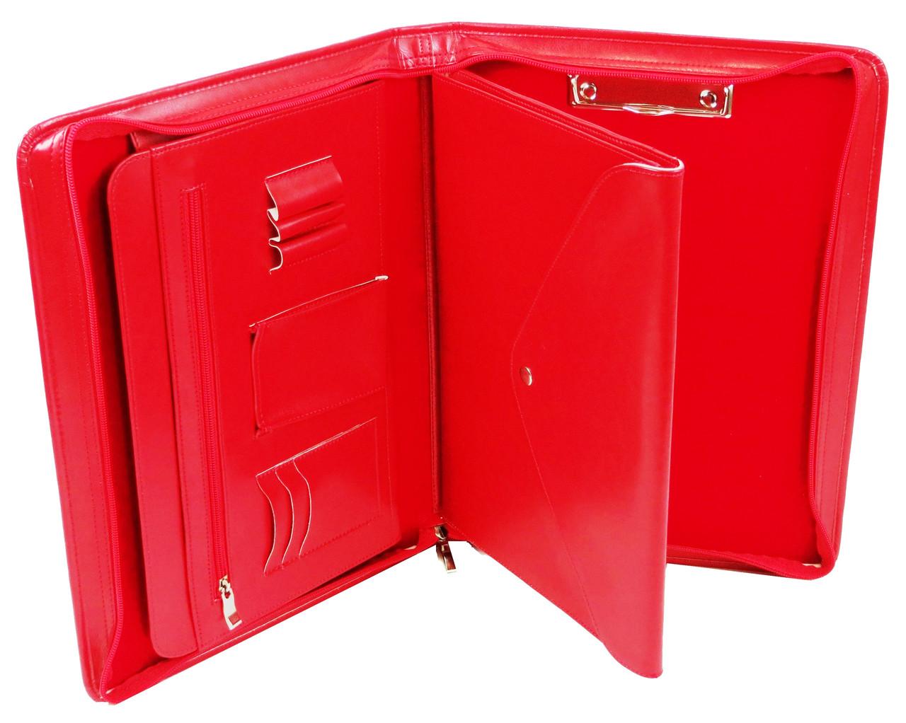 Женская деловая папка из эко кожи AMO SSBW06 красная