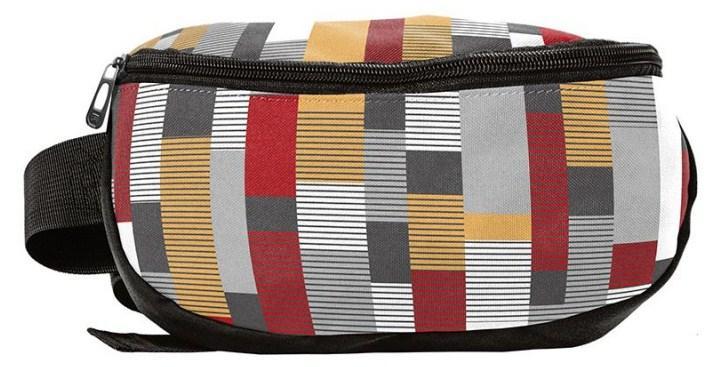 Поясная сумка, бананка из текстиля в клетку Paso 18-510KS