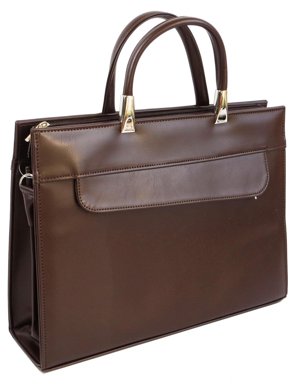 Женская деловая сумка из эко кожи Jurom коричневая