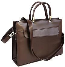 Женская деловая сумка из эко кожи Jurom коричневая, фото 2