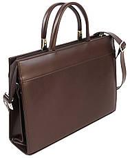 Женская деловая сумка из эко кожи Jurom коричневая, фото 3