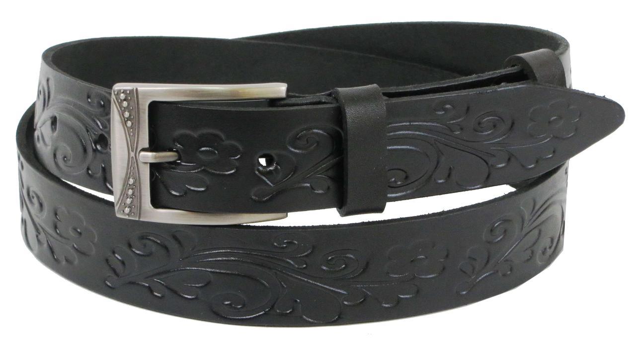 Женский кожаный ремень Skipper 1270-35 черный 3,5 см