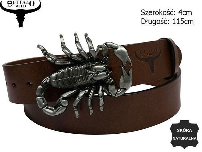 Мужской кожаный ремень с бляхой Скорпион Cavaldi коричневый 3,8 см