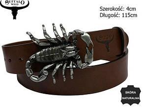 Мужской кожаный ремень с бляхой Скорпион Cavaldi коричневый 3,8 см, фото 2