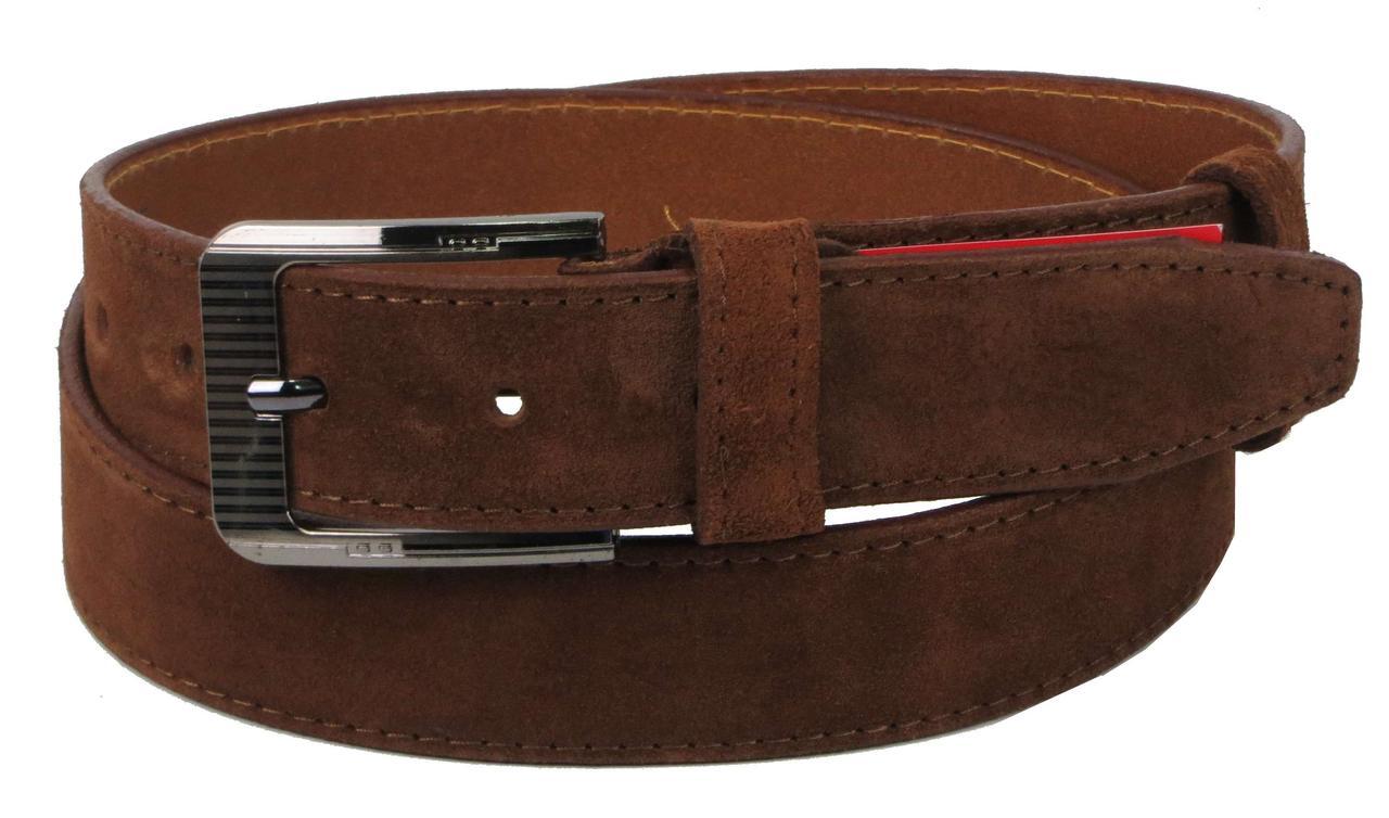 Ремень замшевый под брюки Skipper 1277-35 коричневый 3,5 см