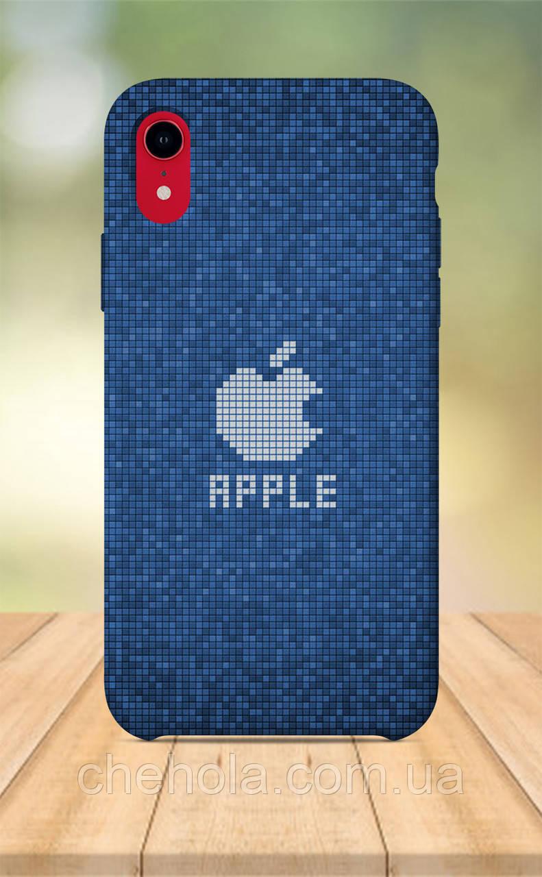 Чехол для apple iphone xr с принтом в стиле Apple Логотип яблоко Синий