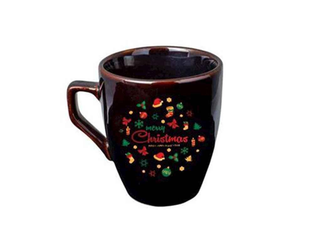 Чашка 320мл Європа чорна гл. Merry Christmas 235018000 (6шт. в уп.) ТМПОЛИ