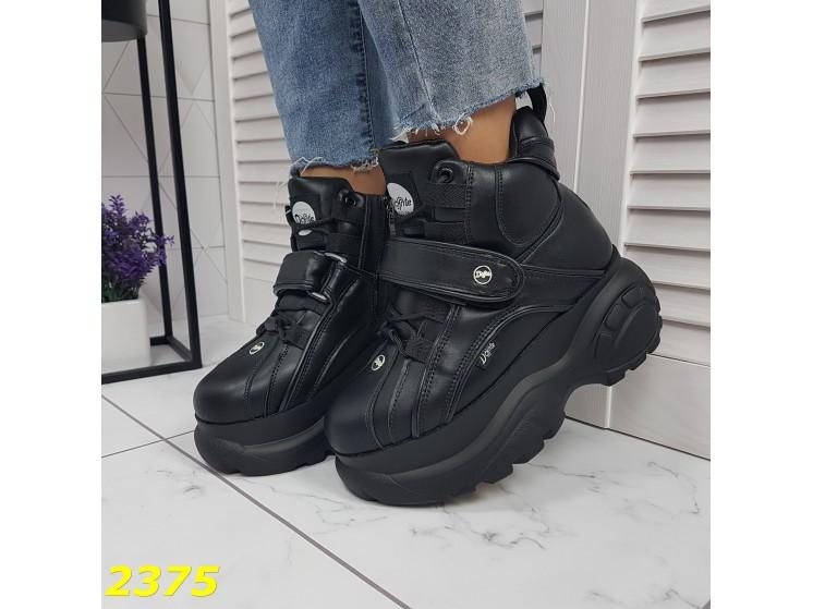Кроссовки ботинки на высокой платформе зимние черные 38 р. (2375)