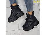 Кроссовки ботинки на высокой платформе зимние черные 38 р. (2375), фото 3