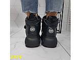 Кроссовки ботинки на высокой платформе зимние черные 38 р. (2375), фото 5