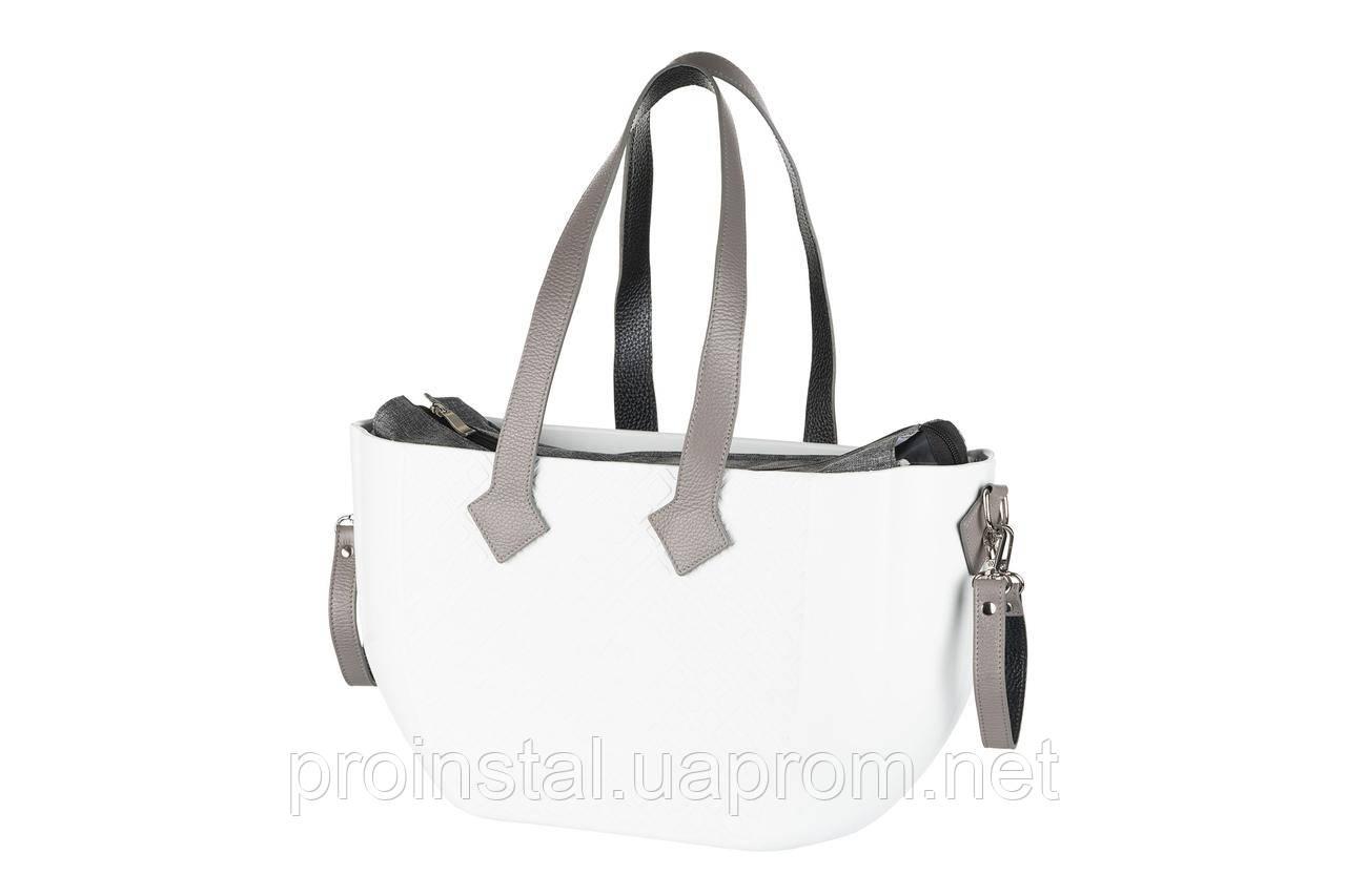 Сумка Nuvita MyMia белый корпус/серая подкладка/серые кожаные ручки,фиксаторы,ремни на коляску