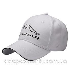 Кепка JAGUAR белая, бейсболка с лотипом авто  Ягуар