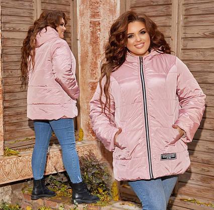 "Женская тёплая куртка в батальных размерах 1315 ""Капюшон Нашивка"" в расцветках"