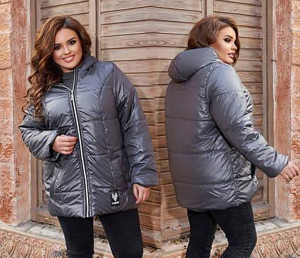 """Женская демисезонная куртка в батальных размерах 1312 """"Капюшон Нашивка"""" в расцветках"""