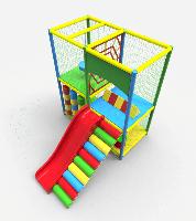 Детский двухуровневый игровой Лабиринт Паутинка с горкой для городских парков и детских центров 240х305х270 см