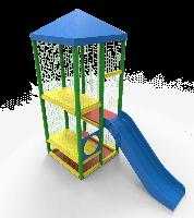 Детский многоуровневый игровой Лабиринт Лесенка с горкой для городских парков и детских центров 275х120х300 см