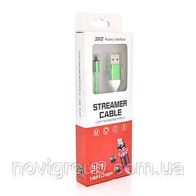 Магнітний кабель світиться USB 2.0 / Lighting, 1m, 2А, GREEN, OEM