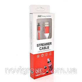Магнітний кабель світиться USB 2.0 / Lighting, 1m, 2А, RED, OEM