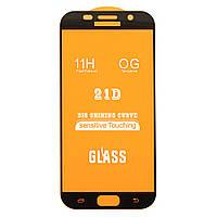 Защитное стекло AVG 21D Full Glue для Samsung A7 2017 / A720 полноэкранное черное