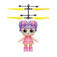 Летающая кукла для девочек летит за рукой Flying Girl Индукционная игрушка вертолёт Фиолетовая