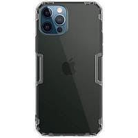Ультратонкий защитный силиконовый чехол для Apple iPhone 12 Pro Max (Серый-Прозрачный / Nillkin)