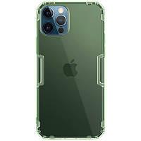Ультратонкий защитный силиконовый чехол для Apple iPhone 12 Pro Max (Зелёный-Прозрачный / Nillkin)