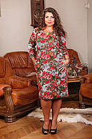 """Женское модное платье """"Евгения"""" с ярким цветочным принтом т. фукра гобелен / батал / красное"""