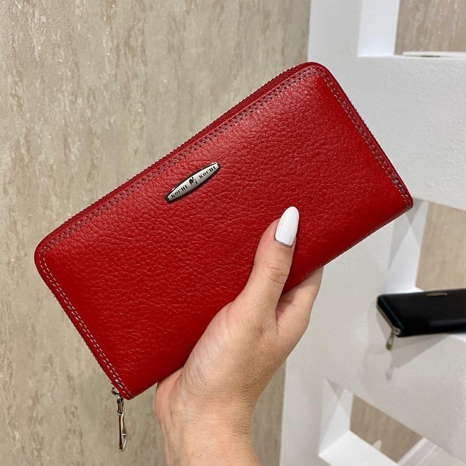 Женский кожаный кошелёк на молнии Trend красный КТ55